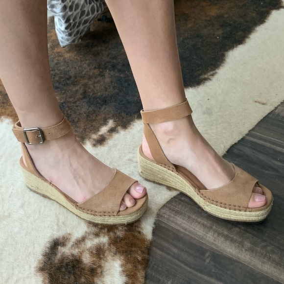 Steve Madden Cognac Leather Espadrille Wedges